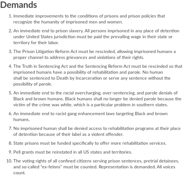 Prison Strike 2018 | Demands